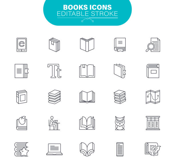Book Line Icons. Editable Stroke. Contains such icon as Open Book, Notebook, Reading, Writing, E-Learning, Illustration vector art illustration