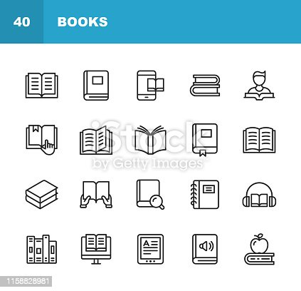 20 Book Outline Icons.