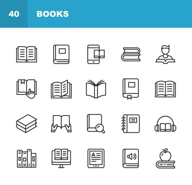 book line icons. editable stroke. pixel perfect. for mobile and web. contains such icons as book, open book, notebook, reading, writing, e-learning, audiobook. - book icons stock illustrations