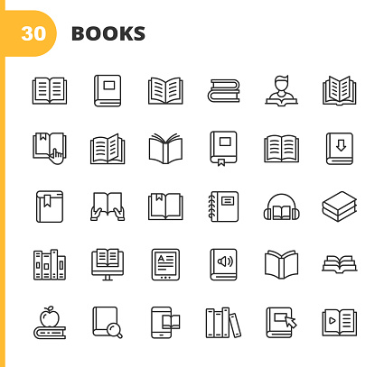 Book Line Icons. Editable Stroke. Pixel Perfect. For Mobile and Web. Contains such icons as Book, Open Book, Notebook, Reading, Writing, E-Learning, Audiobook.
