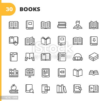 istock Book Line Icons. Editable Stroke. Pixel Perfect. For Mobile and Web. Contains such icons as Book, Open Book, Notebook, Reading, Writing, E-Learning, Audiobook. 1192921956