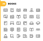 30 Book Outline Icons.