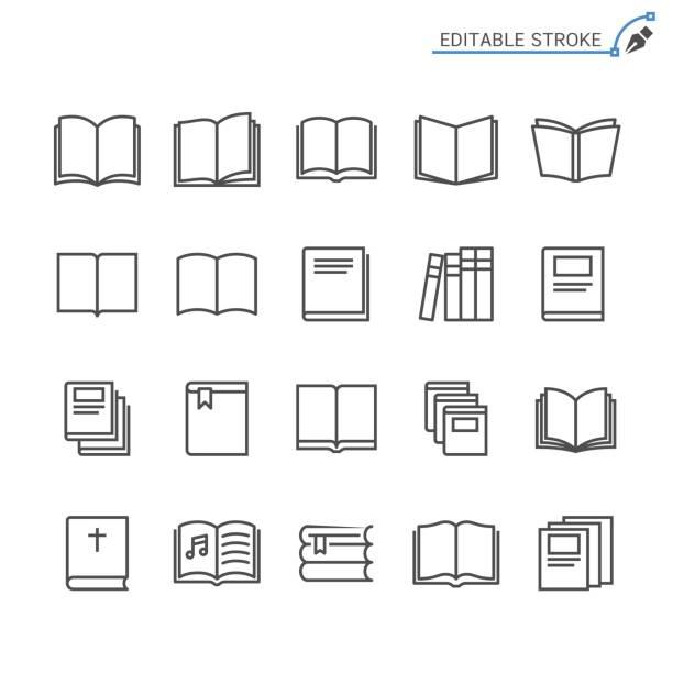 Book line icons. Editable stroke. Pixel perfect. vector art illustration