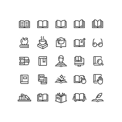 Set of book line vector icons. Editable stroke.