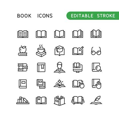 Book Line Icons Editable Stroke