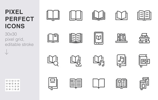 Book line icons set. Open books, dictionary, bible, audio novel, literature education minimal vector illustrations. Simple flat outline sign for web library app. 30x30 Pixel Perfect. Editable Strokes