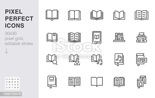Book line icons set. Open books, dictionary, bible, audio novel, literature education minimal vector illustrations. Simple flat outline sign for web library app. 30x30 Pixel Perfect. Editable Strokes.