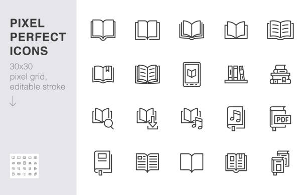 Book line icons set. Open books, dictionary, bible, audio novel, literature education minimal vector illustrations. Simple flat outline sign for web library app. 30x30 Pixel Perfect. Editable Strokes Book line icons set. Open books, dictionary, bible, audio novel, literature education minimal vector illustrations. Simple flat outline sign for web library app. 30x30 Pixel Perfect. Editable Strokes. book icons stock illustrations