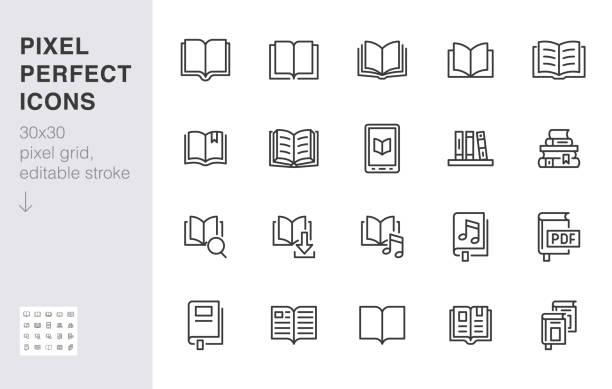 zarezerwuj zestaw ikon linii. otwarte książki, słownik, biblia, powieść audio, edukacja literatury minimalne ilustracje wektorowe. prosty płaski znak konturu dla aplikacji biblioteki internetowej. 30x30 pixel perfect. edytowalne obrysy - open book stock illustrations