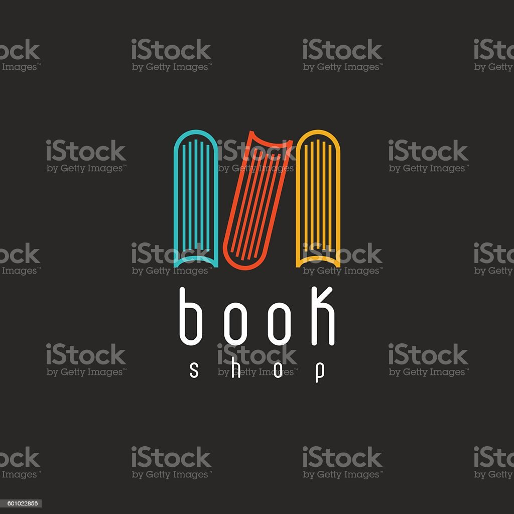 Book logo education emblem, design library literature icon vector art illustration