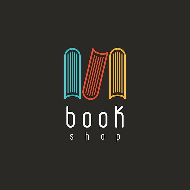 Book logo education emblem, design library literature icon vector art illustration
