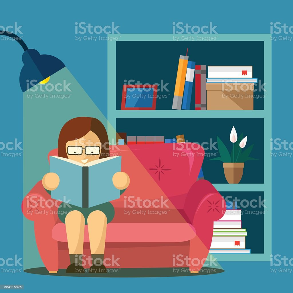 Book lover illustration vector art illustration