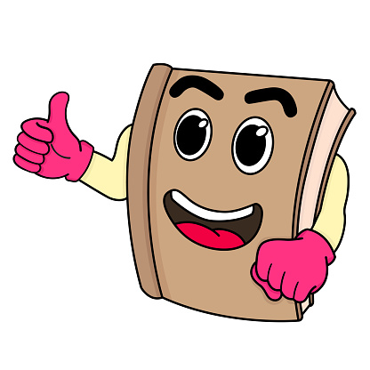 book mascot cartoon