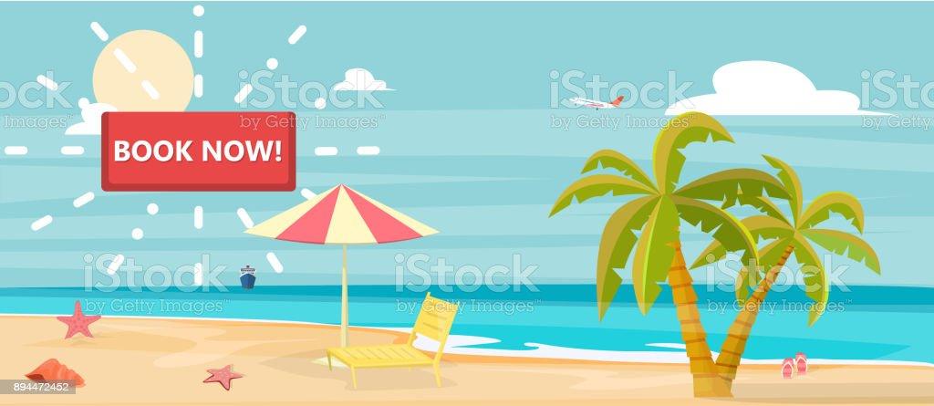 Book now tourism banner vector art illustration