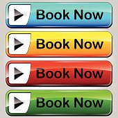 illustration of colorful web buttons set for book now