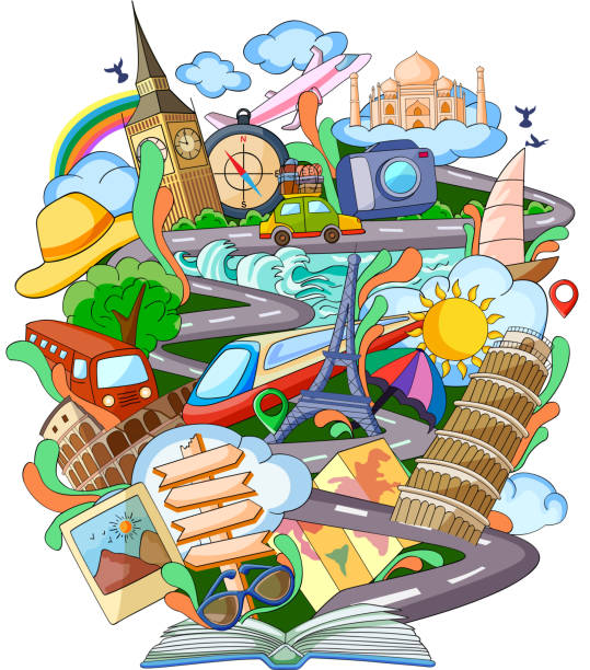 book of knowledge for travel - reiseliteratur stock-grafiken, -clipart, -cartoons und -symbole