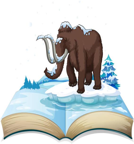 buch der mammut auf eisberg - eiszeit stock-grafiken, -clipart, -cartoons und -symbole
