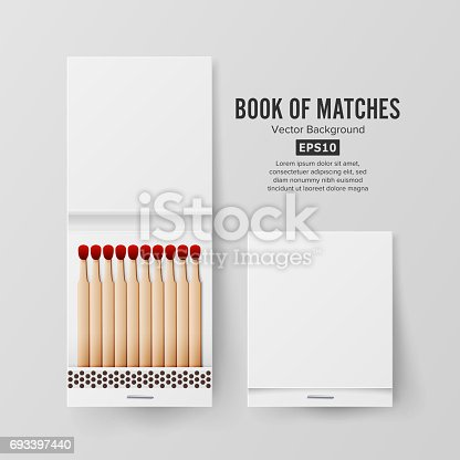istock Book Of Matches Vector. Top View Closed Opened Blank. Empty Mock Up. Realistic Illustration 693397440