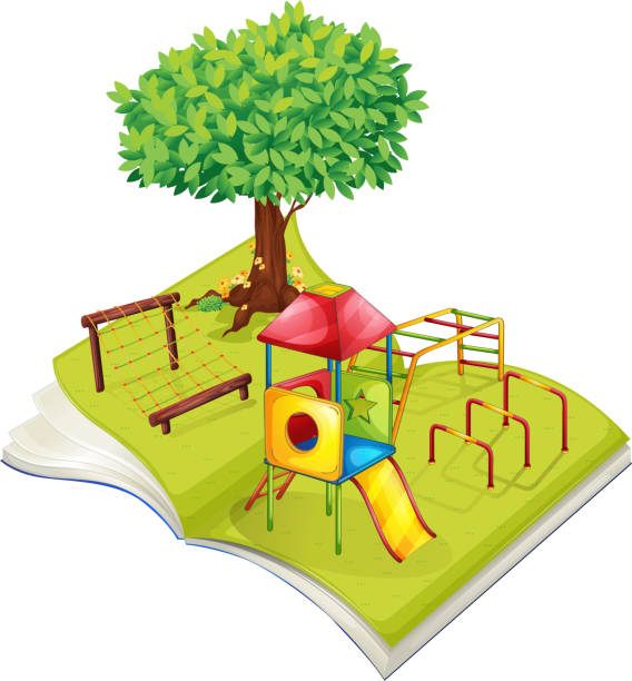 book of playground in the park - monkey bars stock illustrations, clip art, cartoons, & icons