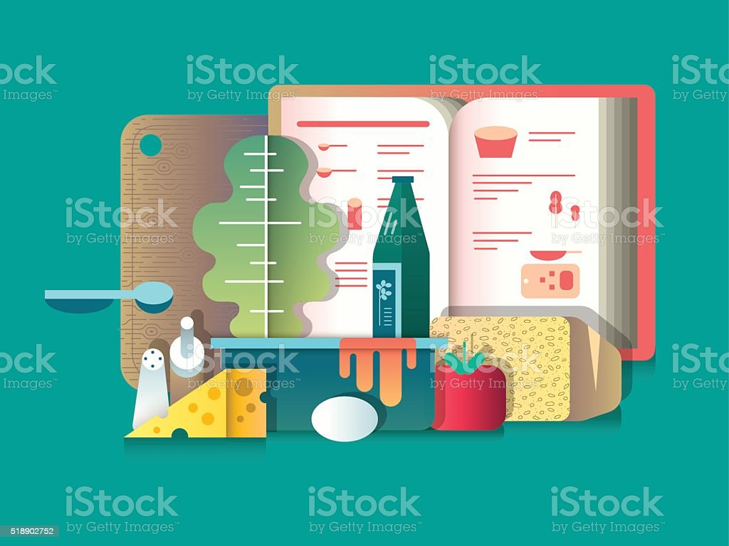 Book of recipes and products for cooking vector art illustration