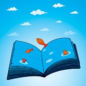 Open book pages as blue sea with jumping fishes. Vector illustration. Eps10. Contains transparent object.