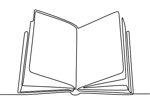 Book one line drawing banner. Opened book with pages on the table isolated on white. Happy study with book. Back to school concept. Vector illustration education supplies back to school theme.