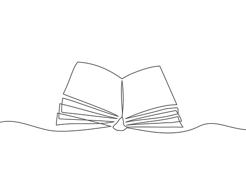 Book One line drawing Vector book in line style on white background