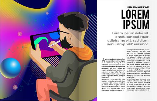 Book or magazine illustration template