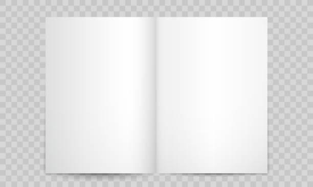 stockillustraties, clipart, cartoons en iconen met boek of tijdschrift open blanco pagina's. vector geïsoleerde 3d verticale catalogus brochure of a4 boekje model met lege pagina's - illustraties van magazine mockup