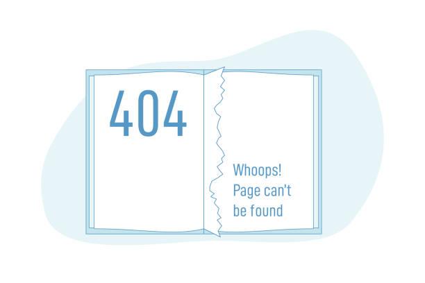 stockillustraties, clipart, cartoons en iconen met boek of notitieboekje met 404 uitgescheurde pagina - verdwaald