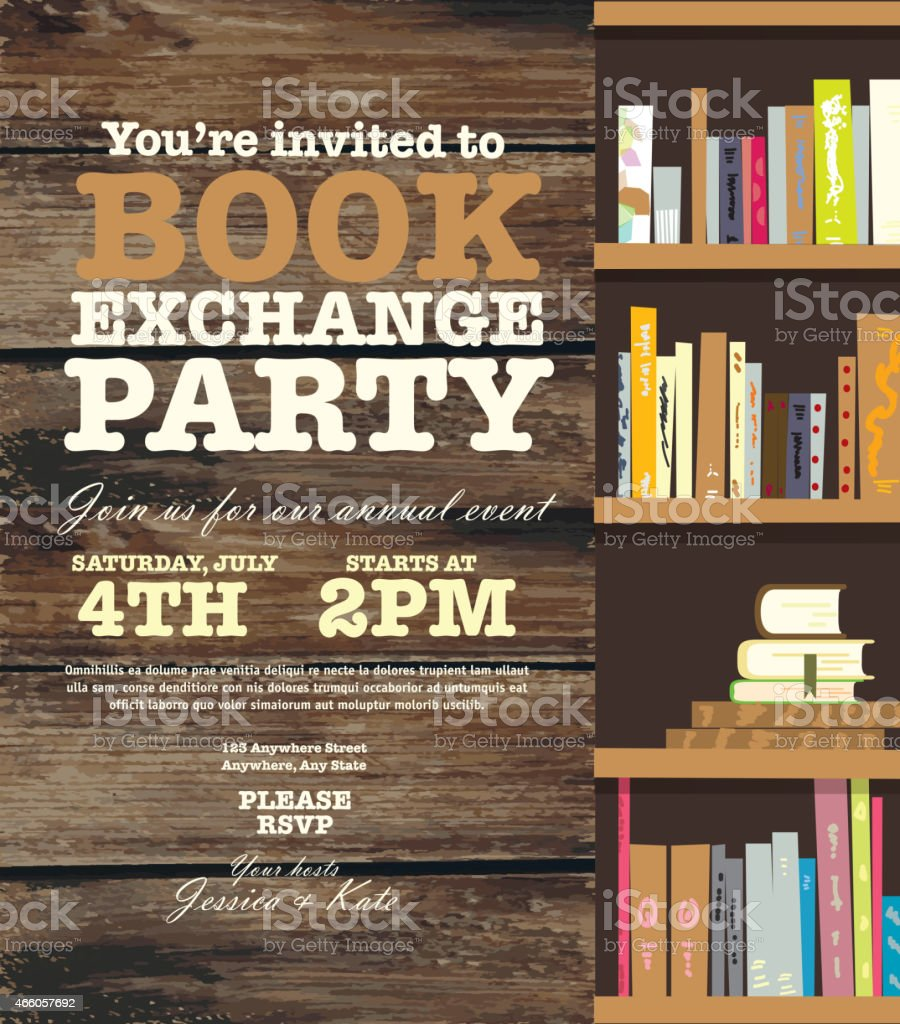 Book Party Exchange Event Invitation Design Template With Book – Book Party Invitation