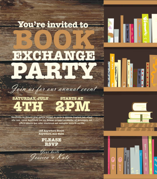 Book party exchange event invitation design template with book shelves Bookworm exchange invitation design template. Includes open book and sample text design. Ideal for party, gathering or celebration book signing event. Vector illustration.  book club stock illustrations