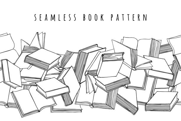 illustrazioni stock, clip art, cartoni animati e icone di tendenza di book pattern. seamless horizontal texture with open and closed books. hand drawn vector illustration. - book
