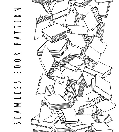 Book pattern. Seamless vertical texture with open and closed books. Hand drawn vector illustration.