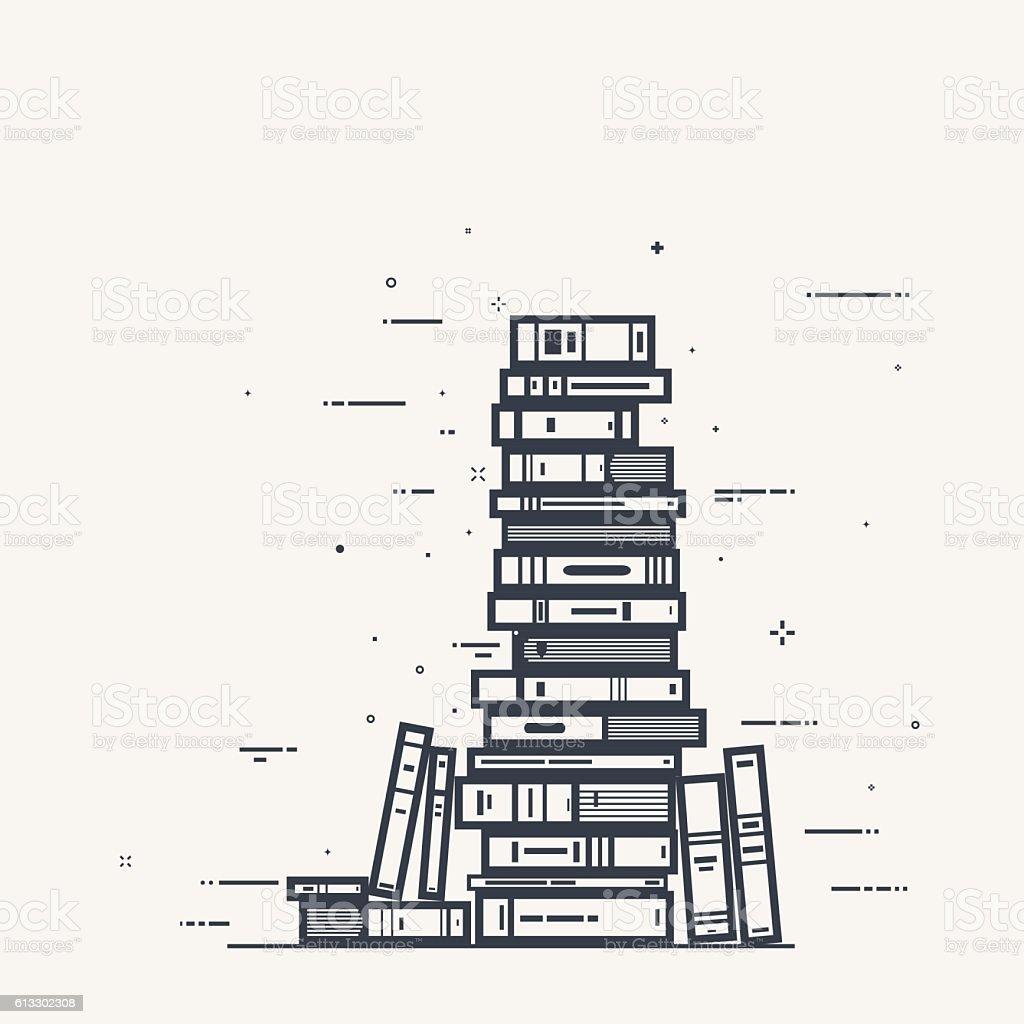 Book pile line art vector art illustration
