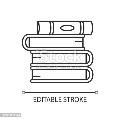 istock Book pile pixel perfect linear icon. Stack of hardcover textbooks. Self education and knowledge. Thin line customizable illustration. Contour symbol. Vector isolated outline drawing. Editable stroke 1251499314