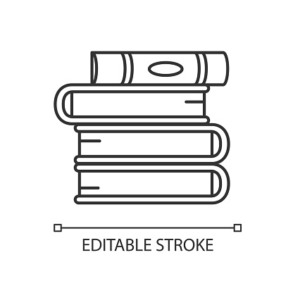 Book pile pixel perfect linear icon. Stack of hardcover textbooks. Self education and knowledge. Thin line customizable illustration. Contour symbol. Vector isolated outline drawing. Editable stroke