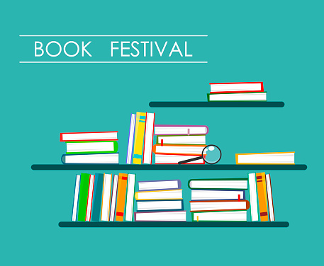 Book piles on the shelves with the inscription in the style of flat. Vector Illustration of Book Festival
