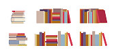 Book piles set. Information and knowledge symbol, tutorial set of textbooks image for reading area in class or library. Vector flat style cartoon illustration isolated on white background