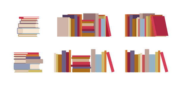 Book piles set vector art illustration