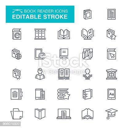Magazine, Education, Reader, Document Editable Stroke Icon Set