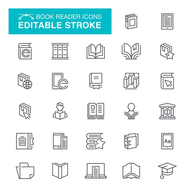 Book Reader Editable Stroke Icons Magazine, Education, Reader, Document Editable Stroke Icon Set book symbols stock illustrations
