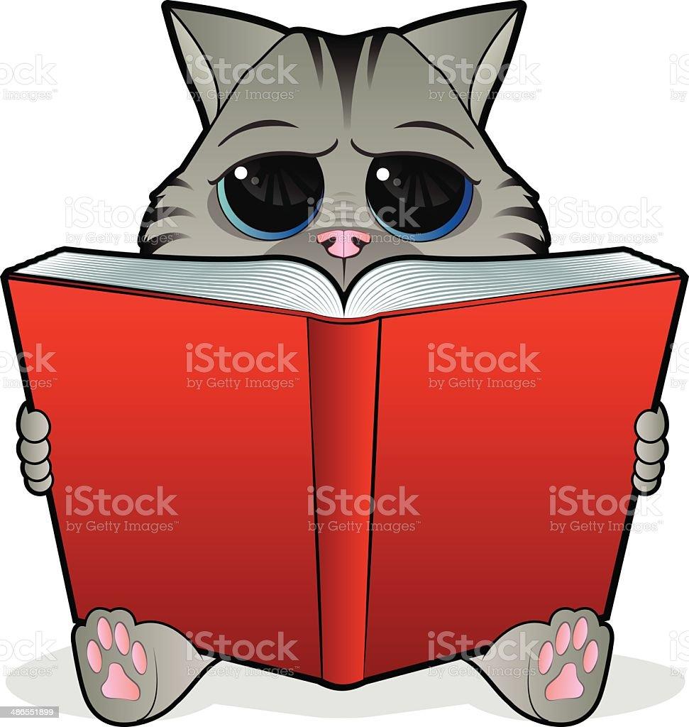 Book Reading Cat royalty-free stock vector art