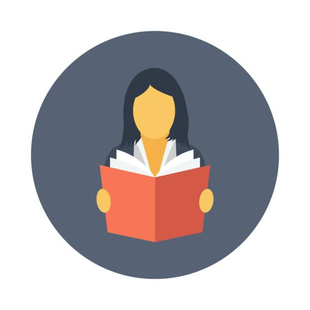 buch lesen flache vektor icon - lesestrategien stock-grafiken, -clipart, -cartoons und -symbole