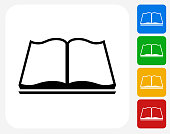 Book Reading Icon Flat Graphic Design