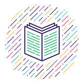 Line vector icon illustration of best seller book.