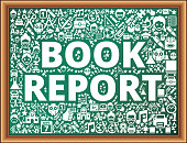 Book report School and Education Vector Icons on Chalkboard