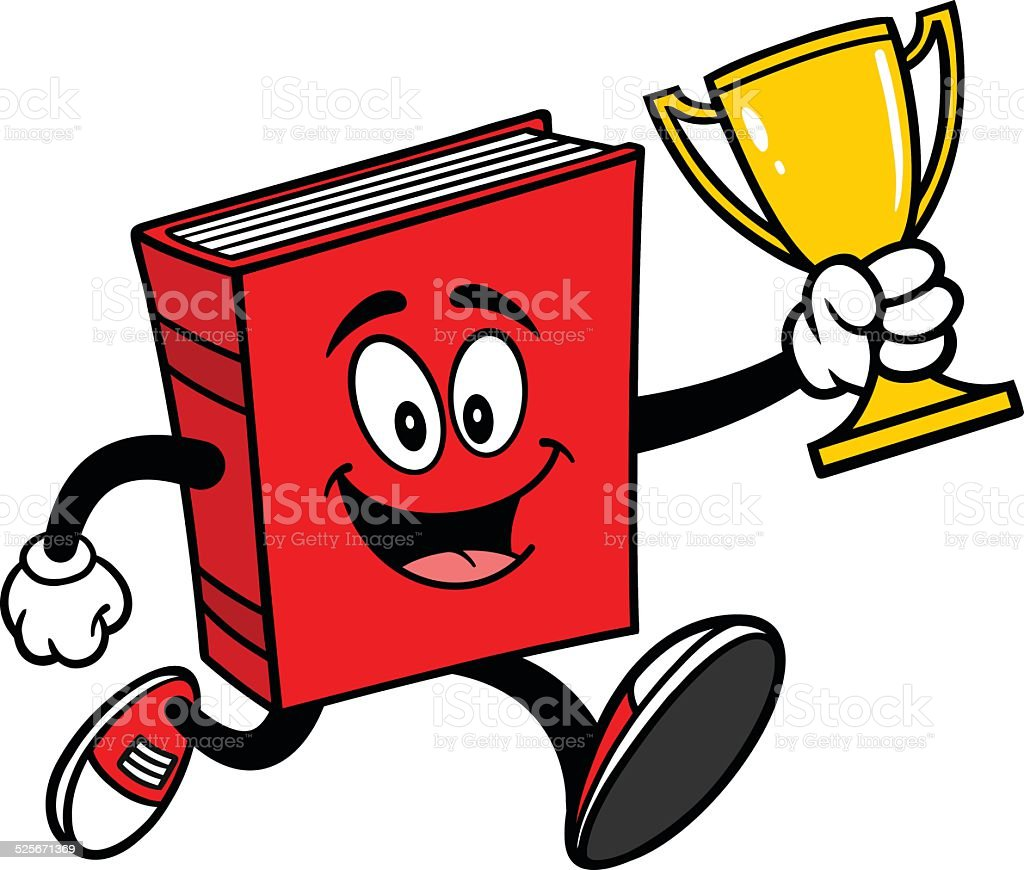 Book Running with Trophy vector art illustration