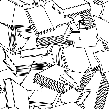 Book seamless pattern. Hand drawn vector illustration. Line style.