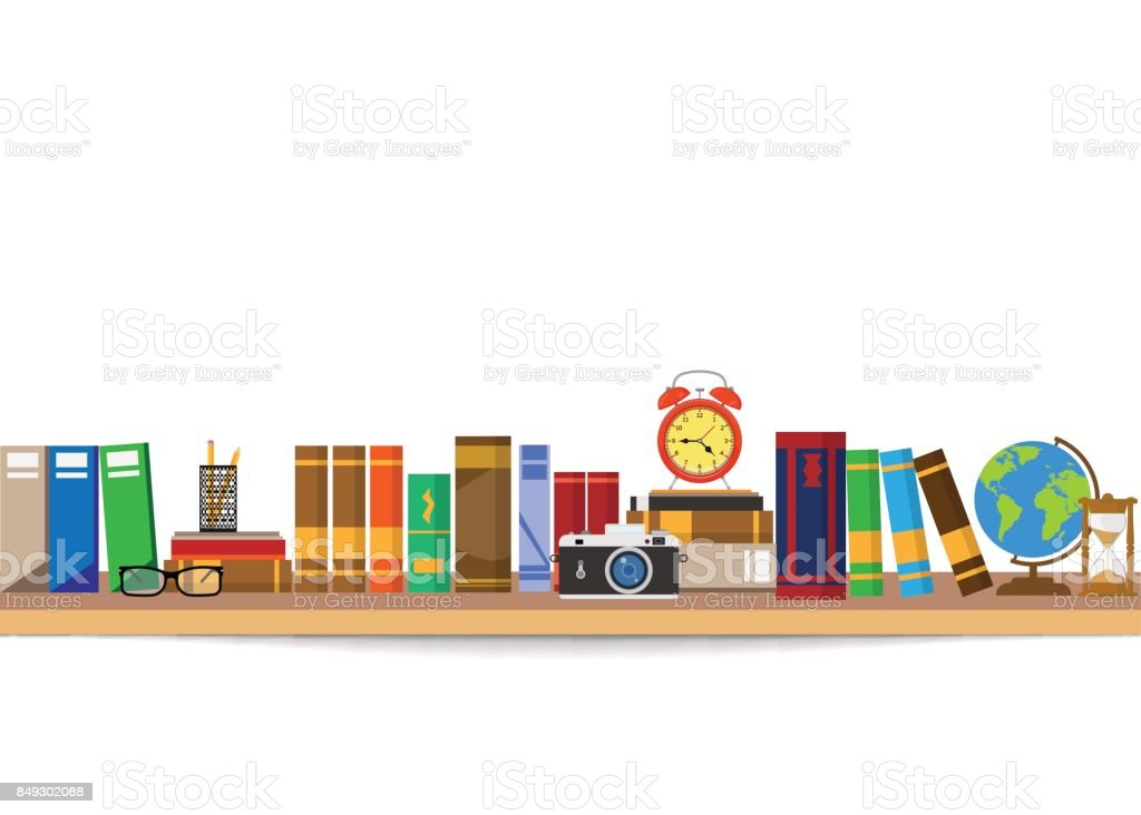 Book shelf. Bookstore indoor. Bookshelves with different books set. Home library interior. Reading and learning, knowledge and education.isolated on white background. vector art illustration